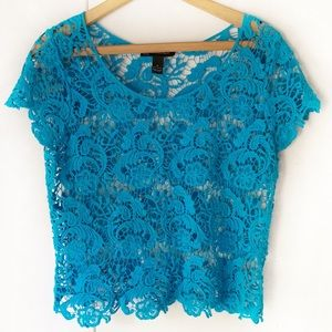 INC International Concepts Blue Lace Blouse Sheer